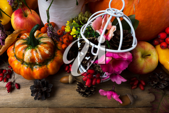 Thanksgiving arrangement with orange turban squash and white birdcage with cones, pink flowers