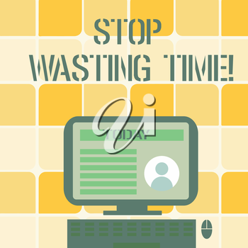 Conceptual hand writing showing Stop Wasting Time. Concept meaning advising demonstrating or group start planning and use it wisely Computer Mounted on Stand with Online Profile Data on Screen