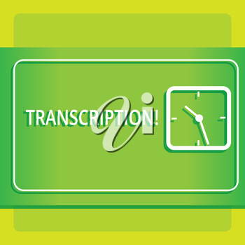 Text sign showing Transcription. Business photo showcasing Written or printed process of transcribing words text voice Modern Design of Transparent Square Analog Clock on Two Tone Pastel Backdrop