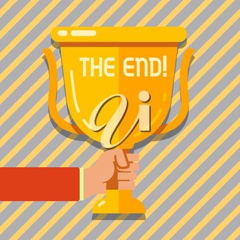 Text sign showing The End. Business photo showcasing Conclusion of time for something ending of life Hand Holding Blank Golden Championship Winners Cup Trophy with Reflection