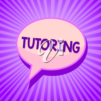 Conceptual hand writing showing Tutoring. Business photo text An act of a person employed to administer knowledge to someone Speech bubble idea reminder purple shadows important intention ray