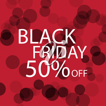Black Friday Black dots on red background. Vector