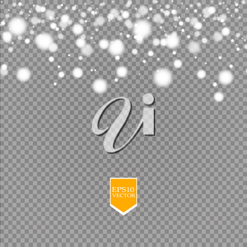 Shine white snowflake with glitter isolated on transparent background. Christmas decoration with shining sparkling light effect. Vector eps 10