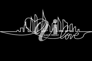 Black Friday in the City the Perfect Sale. White Ribbon Banner in Flat Style on a Black Background with an Abstract City Skyline and heart and text love. Vector Illustration.