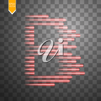 Digital bitcoins symbol with light effect and speed glow lines on transparent backgraund. Vector