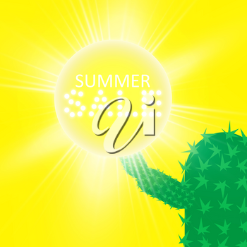 Summer sale background with cactus. Vector illustration.
