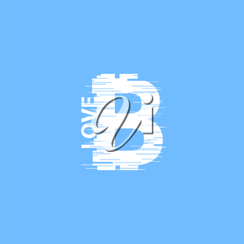 White bitcoin sign in glitch style on blue background. Internet money digital vector illustration. Interference effect for image.