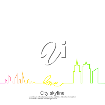 Silhouette of the city and heart and love in continuous drawing lines in a flat style. Modern urban landscape. Vector illustrations. City skyscrapers building office horizon.Continuous line drawing.