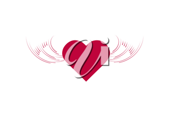 heart angel wings icon illustration isolated vector sign symbol.