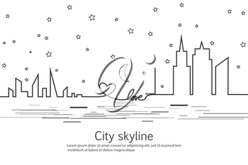 Silhouette of the city and star and moon and love and heart i in a flat style. Modern urban landscape. Vector illustrations. City skyscrapers building office horizon.Continuous line drawing. Vector line. Geometric figures with the effect of motion.