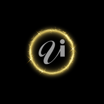Magic gold circle light effect. Illustration isolated on background. Graphic concept for your design.