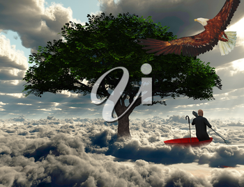 Surreal painting. Man floats in red umbrella.