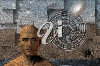 Man's face composed of puzzle pieces. Surreal composition with words and geometric elements. 3D rendering.