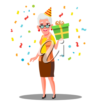 Funny Old Woman Celebrate Birthday In Party Caps And Confetti Vector. Illustration