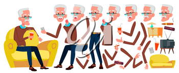Old Man Vector. Senior Person Portrait. Elderly People. Aged. Animation Creation Set. Face Emotions, Gestures. Cute Retiree. Activity Announcement Animated Cartoon Illustration