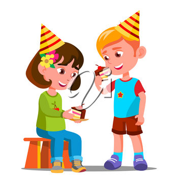 Happy Children Eating A Birthday Cake Vector. Illustration