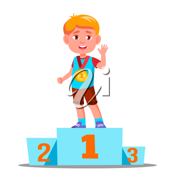Happy Children On A Sports Pedestal With Gold Medal Vector. Competition. Illustration