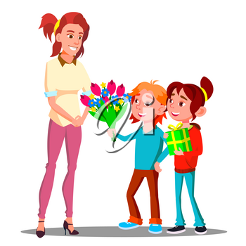 Children Give Flowers And Gifts To Mother Vector. Present, Gift. Illustration