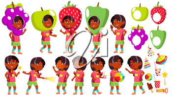 Girl Kindergarten Kid Poses Set Vector. Indian, Hindu. Asian. Party Costume Carnival. Baby Expression. Preschooler. For Card, Advertisement, Greeting Design Isolated Illustration