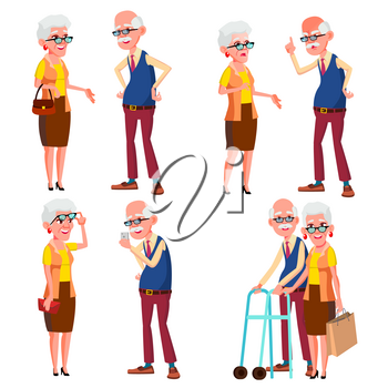 Elderly Couple Set Vector. Modern Grandparents. Old Age. With Glasses. Face Emotions. Happy People Together. European. Isolated Flat Cartoon Illustration
