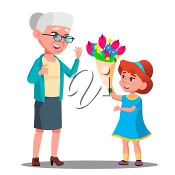 Little Girl Giving Flowers To Grandmother Vector. Isolated Illustration