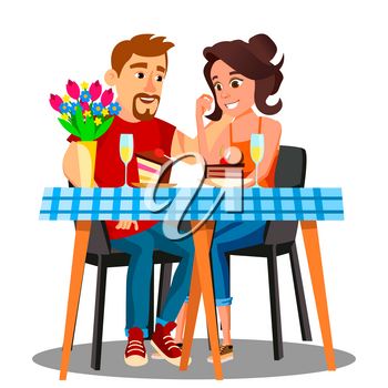 Romantic Dinner For A Young Married Couple At Home Vector. Illustration