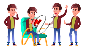 Boy Schoolboy Kid Poses Set Vector. High School Child. Children Study. Knowledge, Learn, Lesson. For Advertising, Placard, Print Design. Isolated Cartoon Illustration
