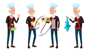 Asian Old Man Poses Set Vector. Elderly Chef In Restaurant. Rolls, Fish. Senior Person. Aged. Funny Announcement, Cover Design. Isolated Illustration