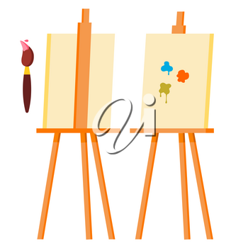 Easel Vector. Painting Art Icon Symbol. Brush. Canvas For Sketch. Cartoon Illustration