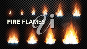 Fire Flames Set Vector. Different Animation Stages. Burning Light With Sparks Effect. Fiery Heat And Bonfire Flares Design. Isolated Transparent Background Illustration