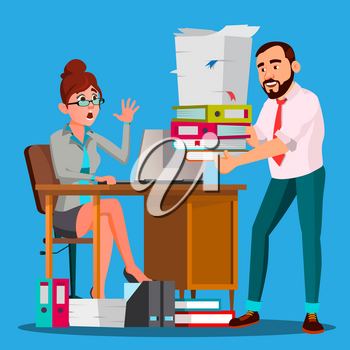 Boss Puts A Stack Of Documents To Stressfull Employee With Full Table Of Documents Vector. Illustration