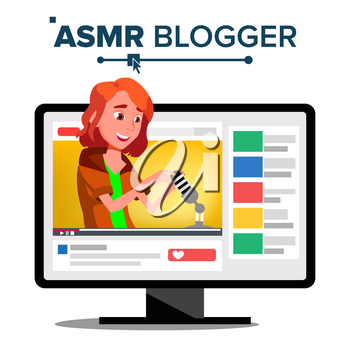 ASMR Blogger Channel Vector. Female. Fast Help To Sleep. Insomnia Concept. Isolated Illustration