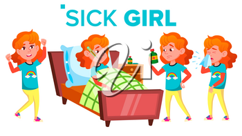 Sick Girl Schoolgirl Vector. Ill Child. Teenage. For Web, Brochure, Poster Design Isolated Illustration