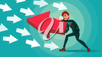 Businessman Pushing Arrow Vector. Opposite Direction. Strategy Concept. Standing Out From The Crowd. Opponent. Against Obstacles. Cartoon illustration