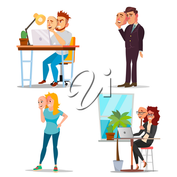 Fake Person Set Vector. Bad, Tired Man, Woman. Deceive Concept. Business People Wear Smile Mask. Isolated Flat Cartoon Illustration