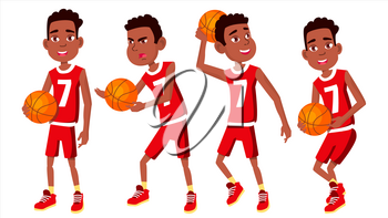 Basketball Player Child Set Vector. Various Poses. Athlete In Uniform With Ball. Sport Game Competition. Game. Isolated Flat Cartoon Illustration