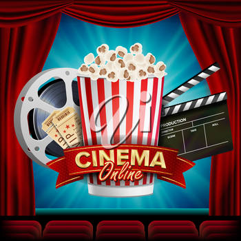 Online Cinema Banner Vector. Realistic. Film Industry Theme. Box Of Popcorn, Elements Of The Movie Theater. Curtain. Illustration