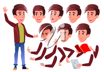 Teen Boy Vector. Teenager. Positive Person. Face Emotions, Various Gestures. Animation Creation Set. Isolated Flat Cartoon Illustration