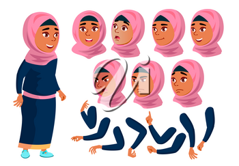 Arab, Muslim Teen Girl Vector. Teenager. Positive. Face Emotions, Various Gestures. Animation Creation Set. Isolated Flat Character Illustration