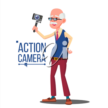 Old Man With Action Camera Vector. Self Video, Portrait. Shooting Process. Recording Video. Isolated Illustration