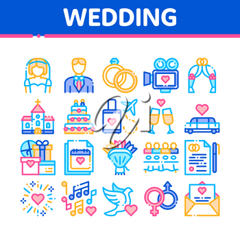 Collection Wedding Vector Thin Line Icons Set. Characters Bride And Groom, Rings And Limousine Wedding Elements Linear Pictograms. Church And Arch, Fireworks And Dancing Color Contour Illustrations