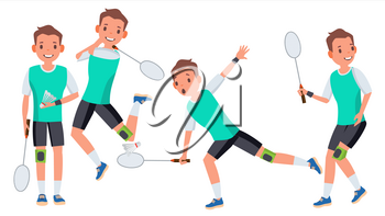 Badminton Male Player Vector. In Action. Racket. Modern Sport, Hobby. Holding Shuttlecock. Cartoon Character Illustration