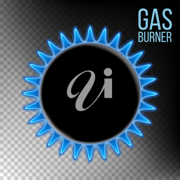 Gas Burner Vector. Burner Ring With Blue Flame. Isolated On Transparent Background Realistic Illustration