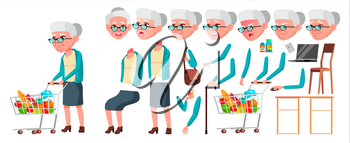 Old Woman Vector. Senior Person Portrait. Elderly People. Aged. Animation Creation Set. Face Emotions, Gestures. Beautiful Retiree. Life. Print Design Animated Isolated Illustration