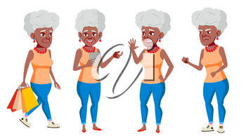 Old Woman Poses Set Vector. Black. Afro American. Elderly People. Senior Person. Aged. Active Grandparent. Joy. Web, Brochure Poster Design Isolated Cartoon Illustration