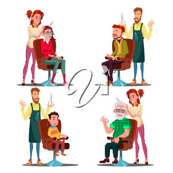 Hairdresser With Client Set Vector. Boy, Teen, Woman, Old Man. Professional Fashion Stilist. Service. Isolated Cartoon Illustration