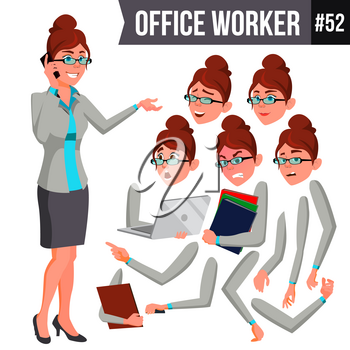 Office Worker Vector. Woman. Successful Officer, Clerk, Servant. Business Woman Worker. Face Emotions, Various Gestures. Animation Creation Set. Isolated Flat Illustration