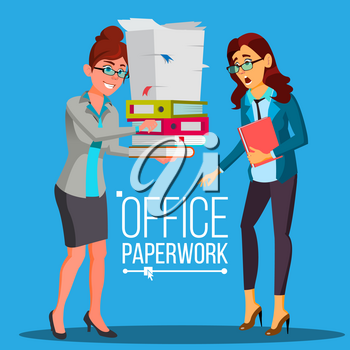 Business Woman Doing Paperwork Vector. Office Worker. Work With Documents. Overworked, Overburdened. Large Piles Of Documents, Folders. Flat Cartoon Illustration