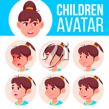 Girl Avatar Set Kid Vector. Primary School. Face Emotions. Flat, Portrait. Youth, Caucasian. Colorful Design Cartoon Head Illustration