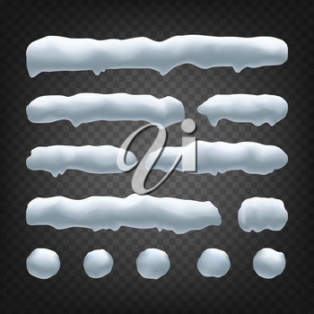 Snow Drift Vector. Snowballs, Snowdrift. New Year Winter Ice Element. Realistic Snow Caps. Isolated On Transparent Background Illustration